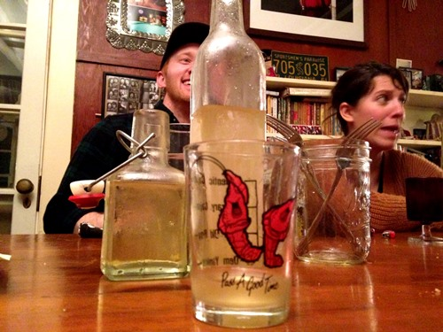 With dessert we did a Toro Limoncello taste-off from a couple batches — mine and Loly and Faulkner's. Both were awesome.