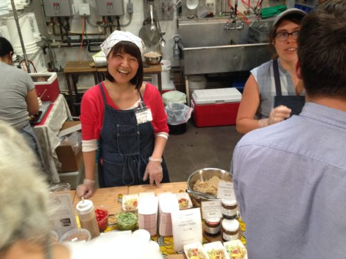 Yuri Migaki (left) and Lola Milholland of Jorinji Miso and Umi Organic. They partnered up (no photos of Earnest sadly!) and served up really tasty noodle + miso dishes.