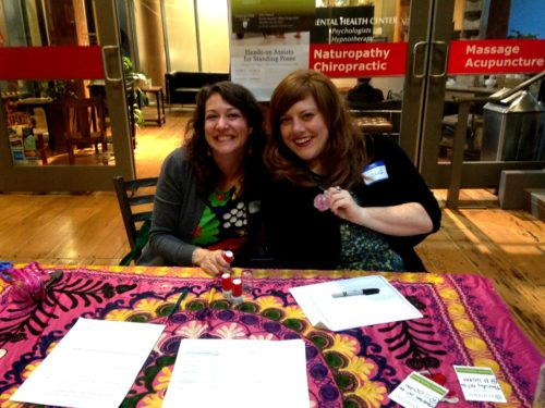 I am the lucky one who gets to organize the ticketing table volunteers annually and it makes me really happy to have my strong female friends volunteering as the fest welcoming committee in five shifts of two. Here are my friends Phoenix and Kelli at the lobby ticketing table's first shift before the doors opened. XOXO