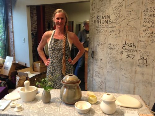 Careen Stoll is another tried and true festival friend. Every year she brings her beautiful hand thrown porcelain crocks that you can purchase at various galleries and shops around town.
