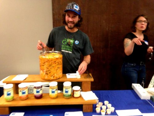 Another festival friend year after year -- Colin Franger of Blue Bus Cultured Foods with all of his tasty treats.