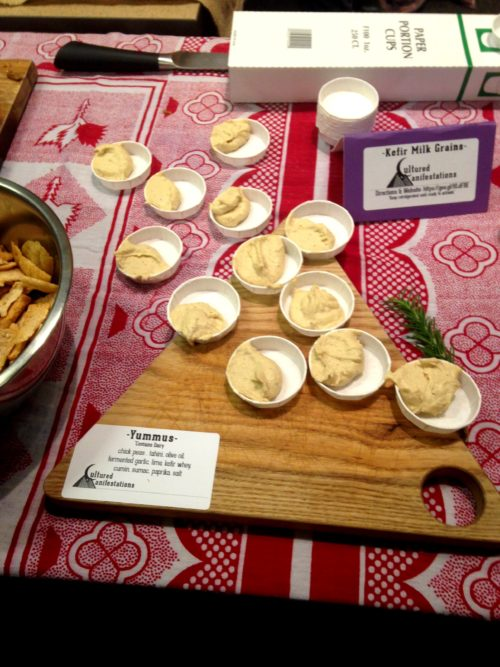 This was a really, really yummy fest sample -- Cultured Manifestation's Yummus. Hummus made with fermented garlic, lime kefir whey, cumin, sumac and more.