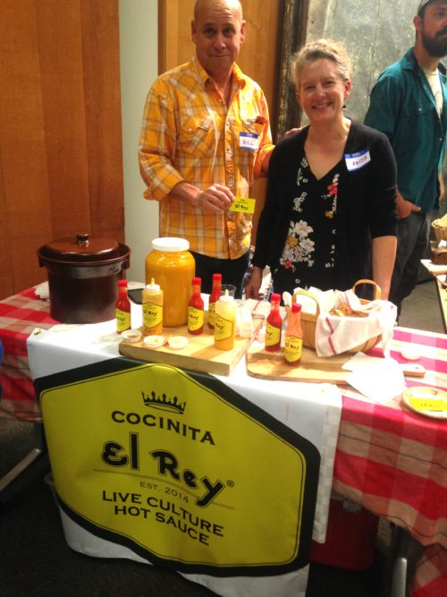 Anja Spence and Bill Jones of Miss Zumstein's Bakery and Coffee Shop sampled their bright and delicious house fermented hot sauces. So yummy!!