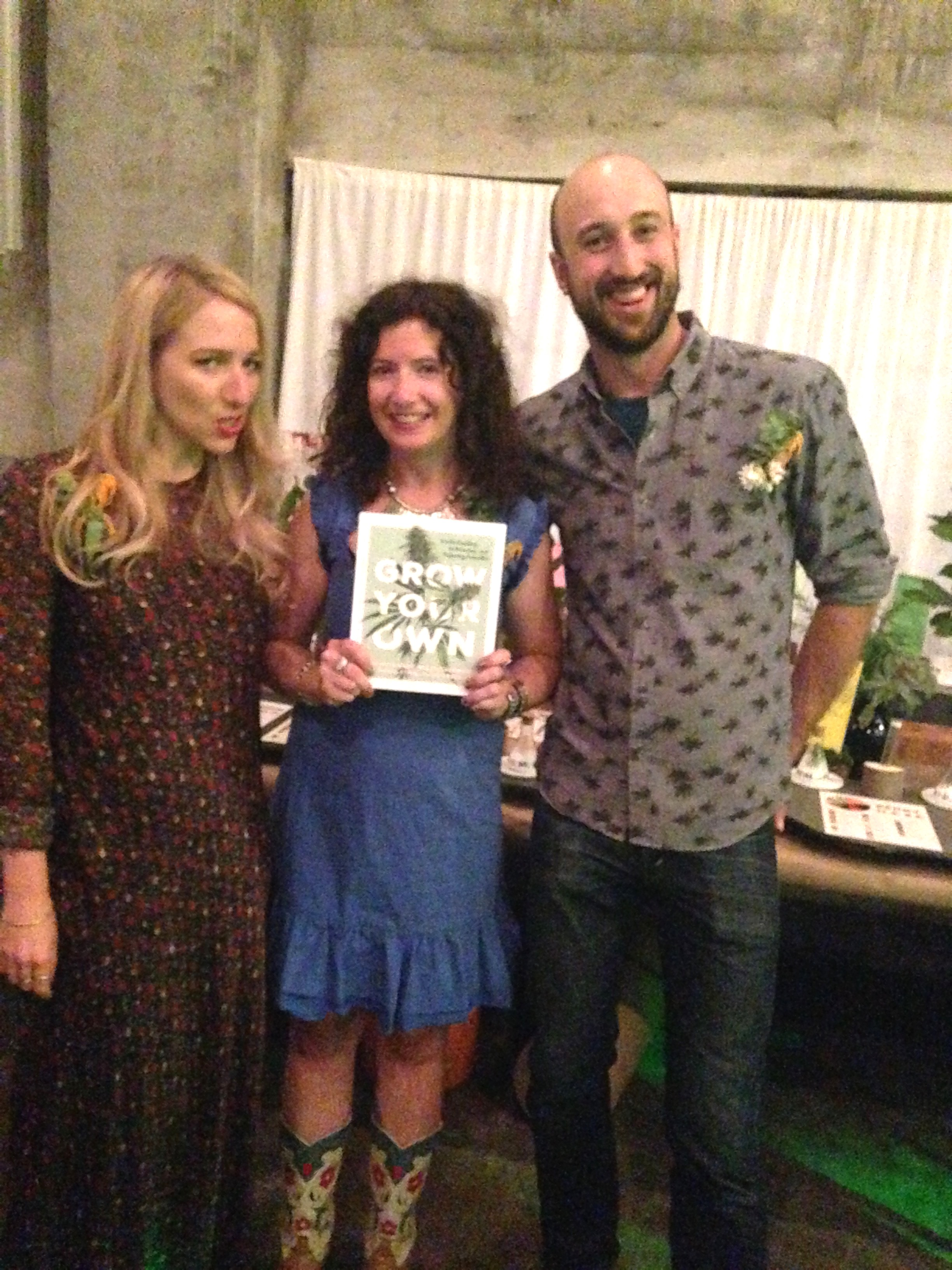 Happiest  Grow Your Own: Understanding, Cultivating, and Enjoying Cannabis co-authors Nichole Graf, me and Micah Sherman at the Holocene book launch party in mid-September. Such an incredible night.