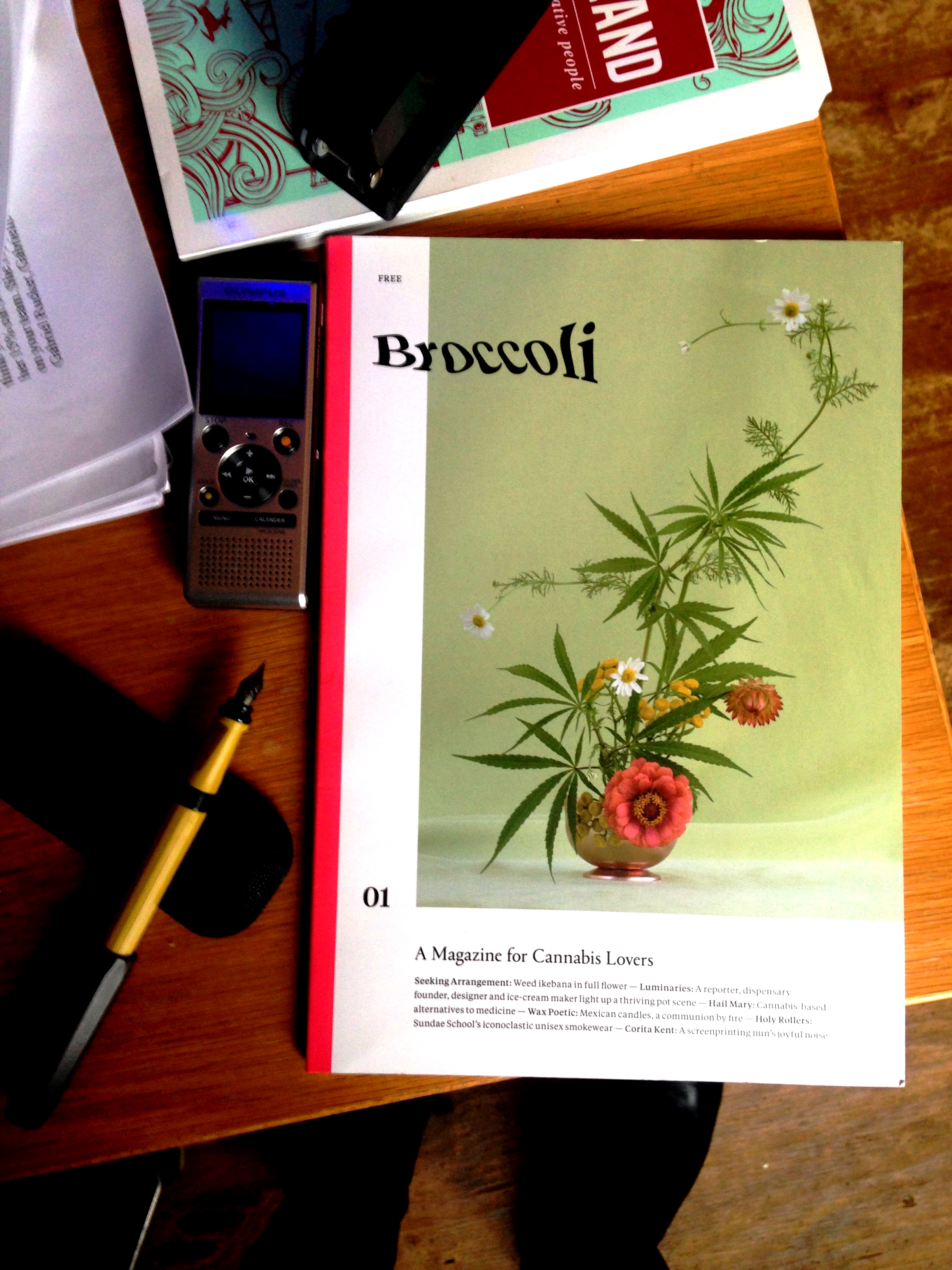 Party attendees got a sneak peek at former Kinfolk art director Anja Charbonneau's new smart and beautiful cannabis magazine   Broccoli   (for women by women) from Anja herself!! The magazine launched in late 2017 and issue 2 comes out this spring. And....