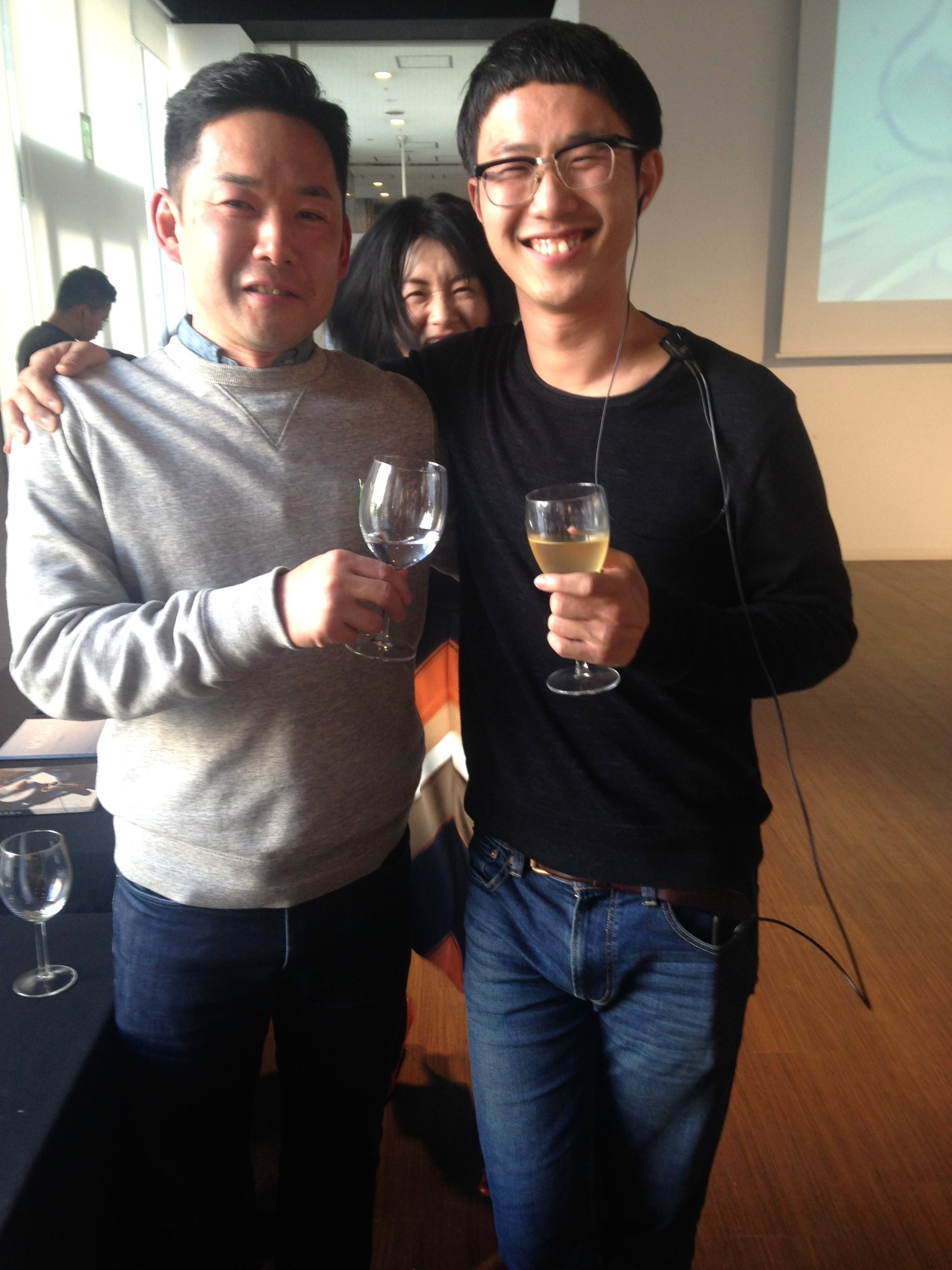 My friends Takeshi Okuno and Yusuke Tanaka -- both integral to F3 -- having fun at the end of F3.