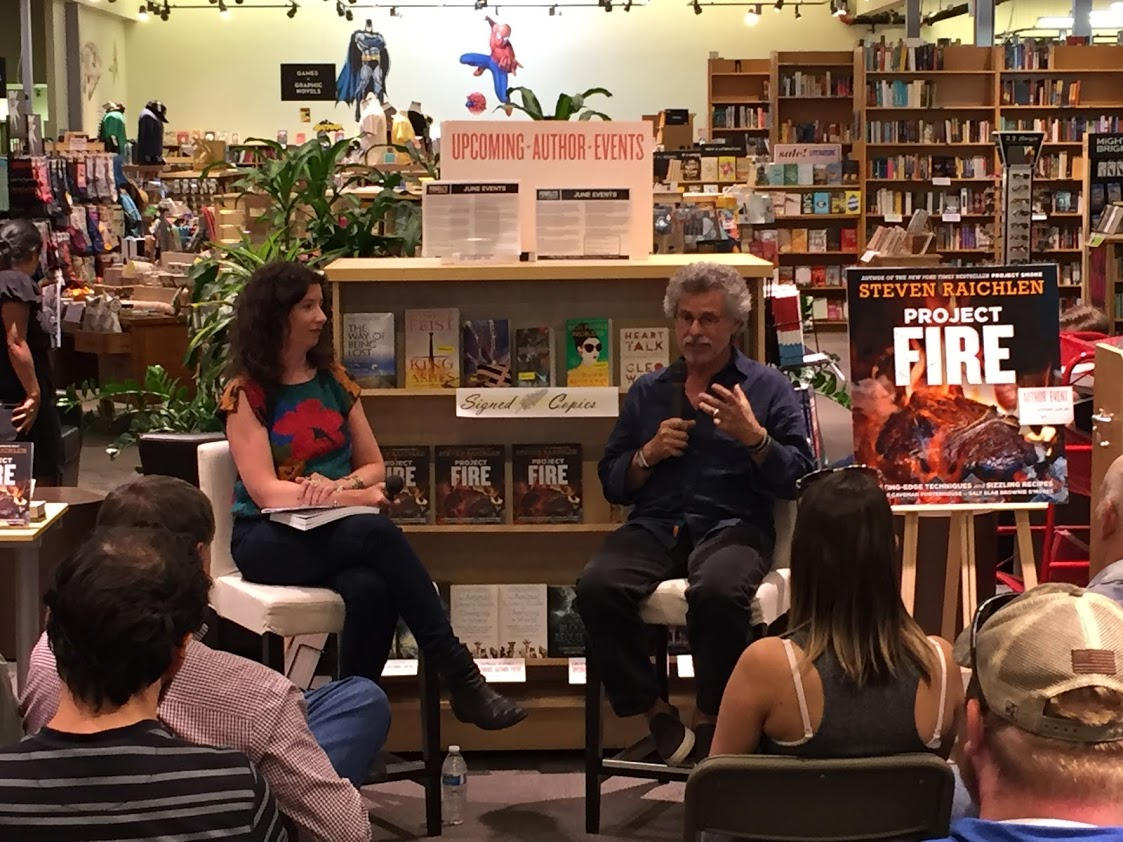 Me and Steven Raichlen in conversation about his newest cookbook,  Project Fire , at Powell's Books Cedar Hills.