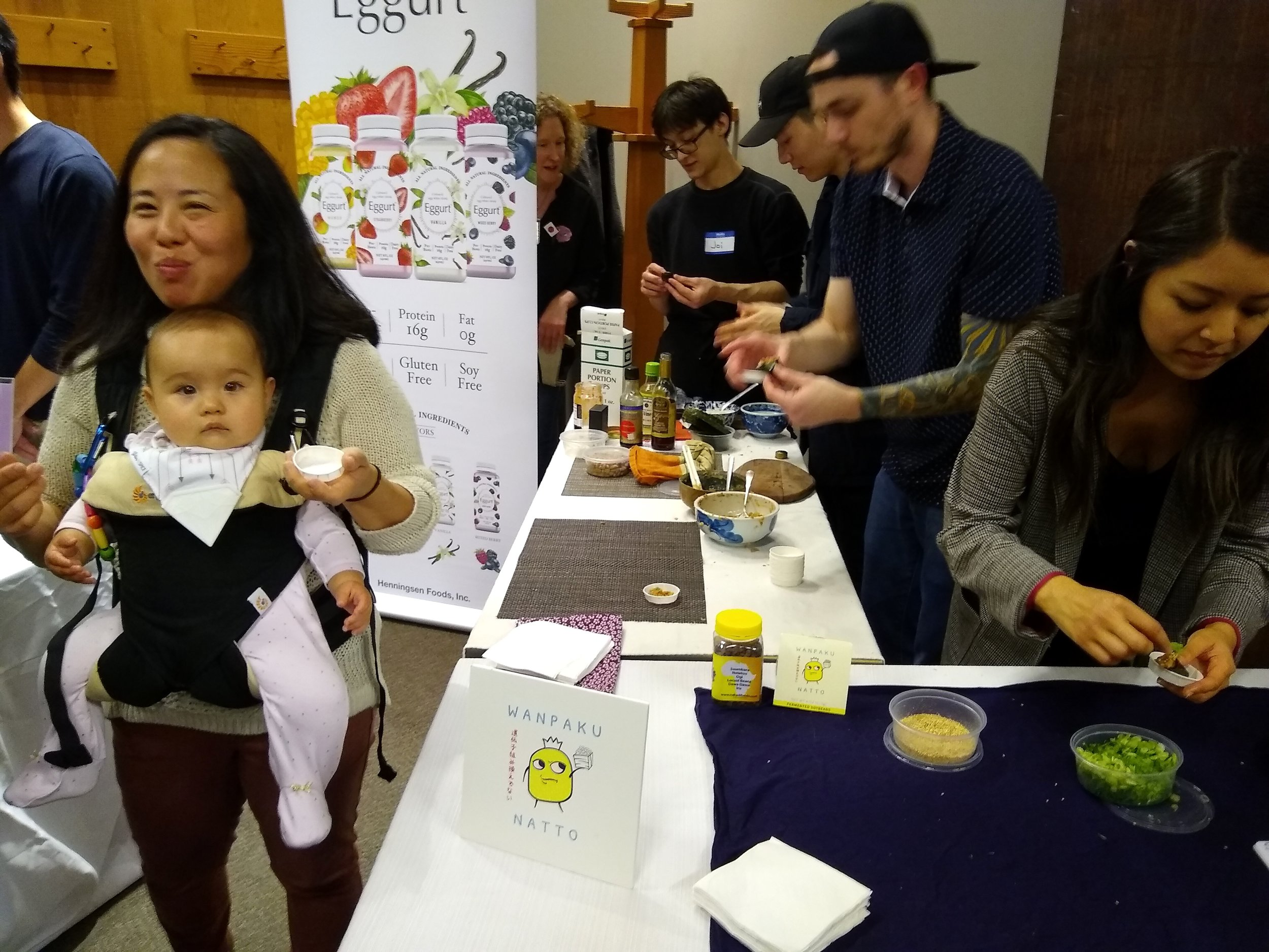 Festival co-organizer Heidi Nestler's crew, including her son Joi and his friends, putting together festival mini temakis (aka hand rolls) with her natto, rice and Choi's Kimchi. So yummy!!!