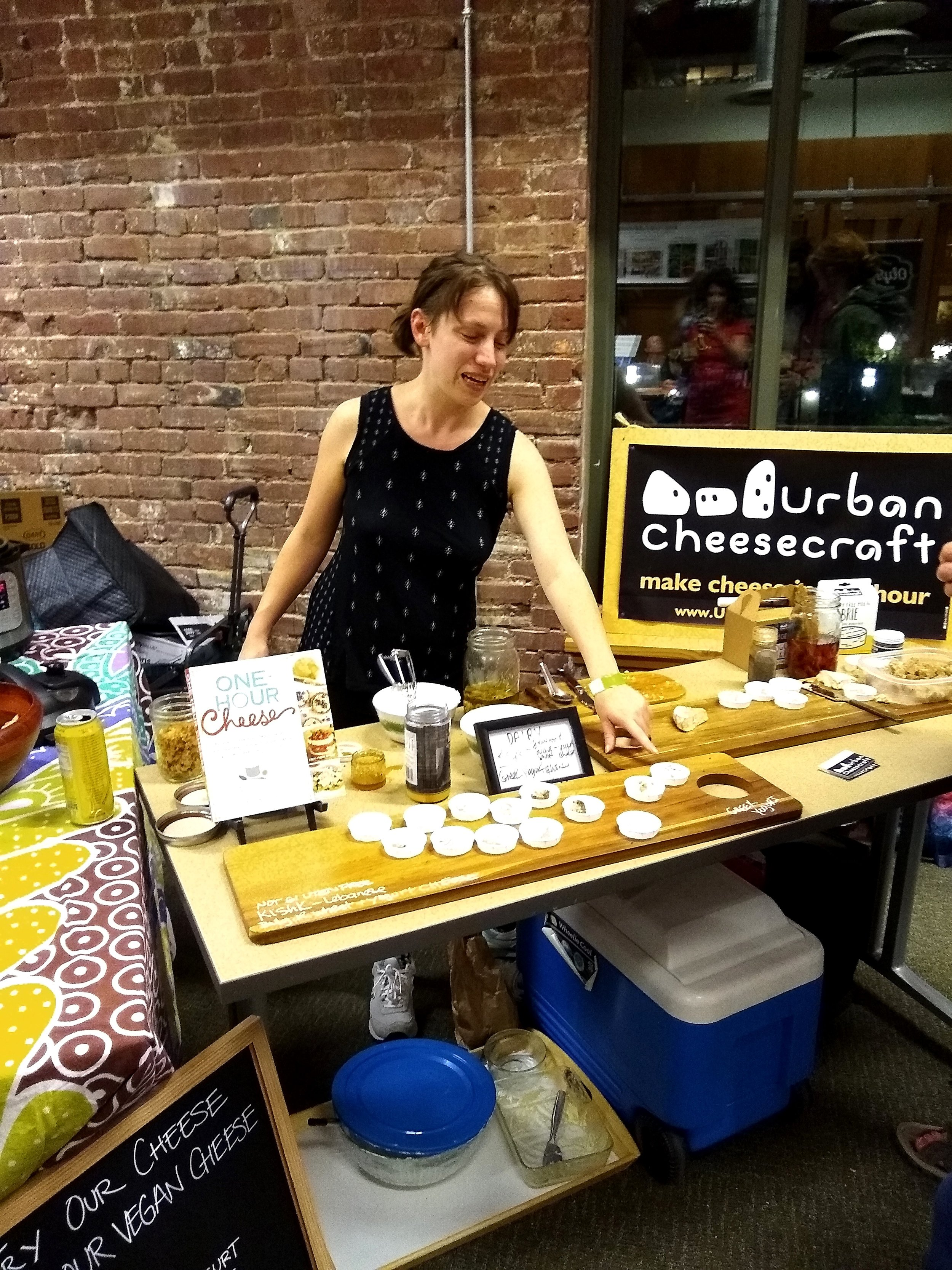 And Claudia's friend Gwynnie Vernon sampling all different Claudia/Urban Cheesecraft dairy and dairy-free deliciousness. Claudia's dairy-free cheese book comes out this February!! You can pre-order it from your favorite (hopefully indie) bookstore.