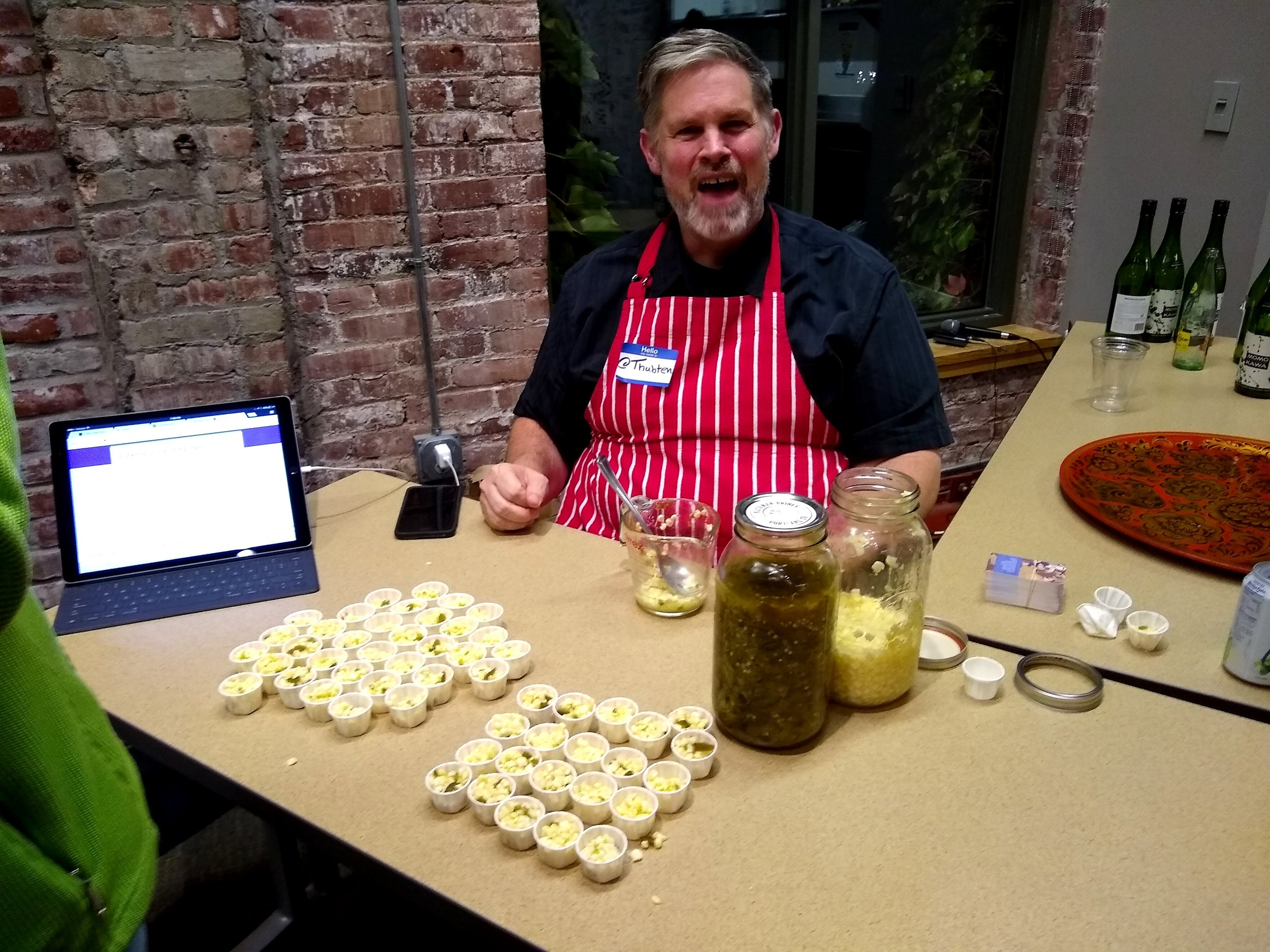 We love Thubten Comerford. He has exhibited at our past few festivals and his Buckman Brines ferments are so tasty! This year he brought fermented corn and chile and people couldn't get enough of it. Including me!