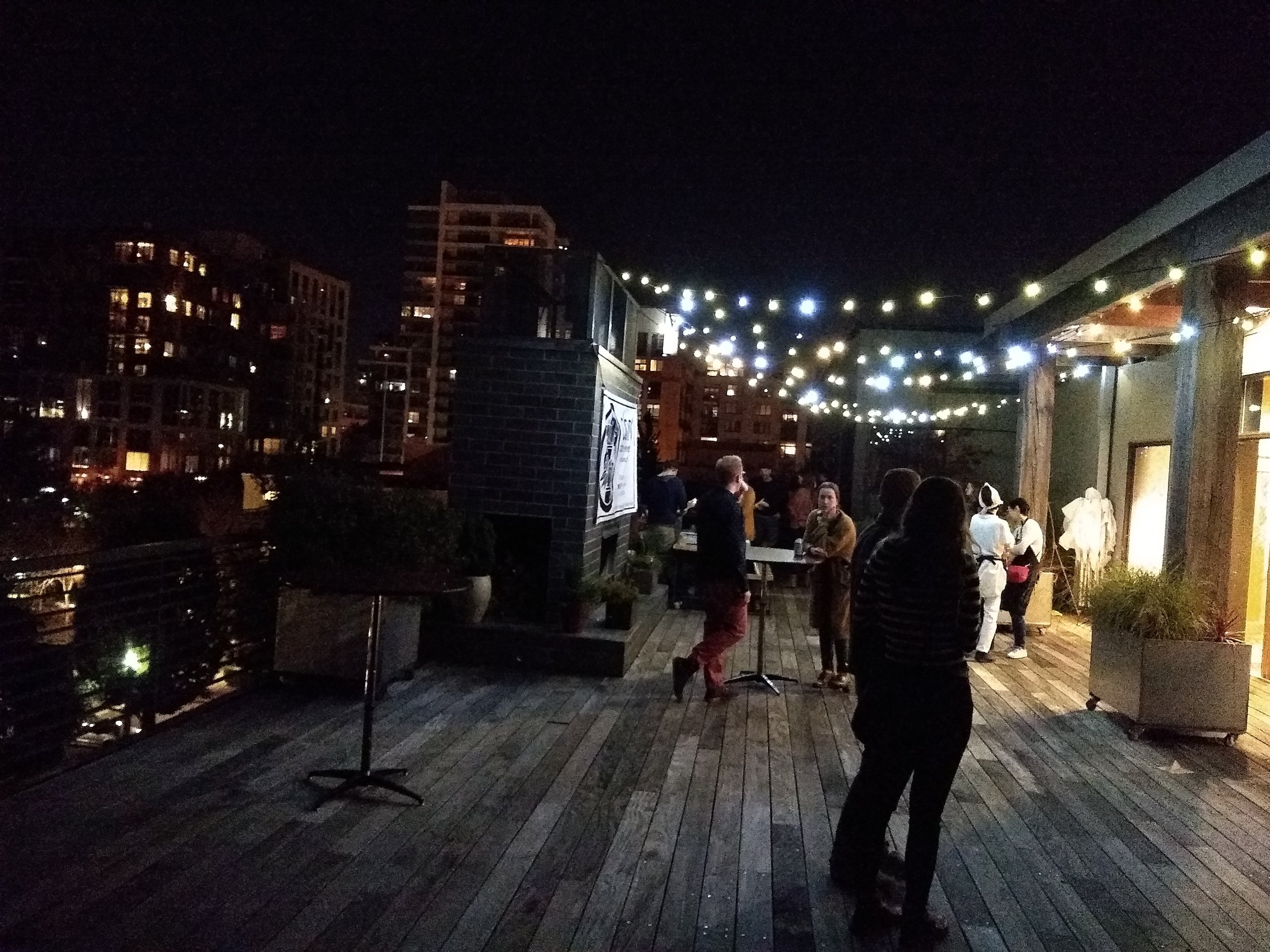 Speaking of the rooftop — look how beautiful it was! I didn't get up there until the later side of the night but I'm so glad that I did. Gorgeous night. Reverend Nat's Hard Cider, Obon and Ecotrust were on the roof and DJ Jimbo's music made everyone feel so good.