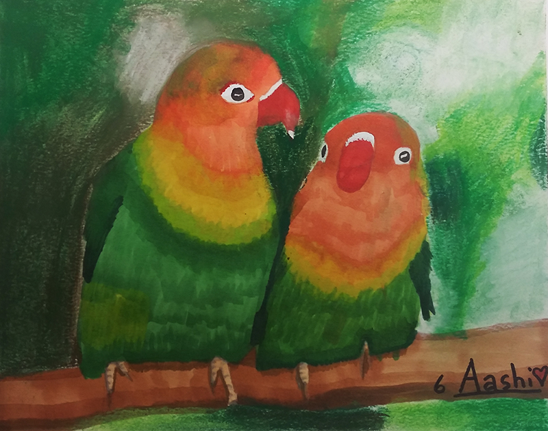 Lovebirds by Aashi, age 6