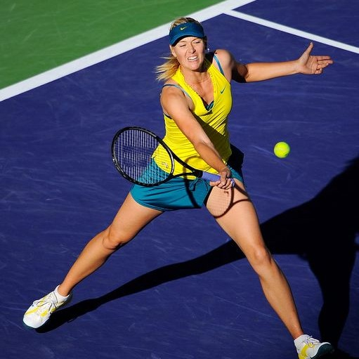 Maria Sharapova forehand volley technique at Indian Wells 2010.JPG
