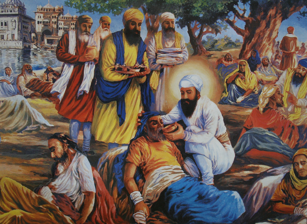 """Bhai Kanhaiya (1648-1718) Inspiration for the formation of the Red Cross - Bhai Kanhaiya (1648-1718) Inspiration for the formation of the Red Cross Bhai Kanhaiya was a disciple of Guru Tegh Bahadur the 9th Guru of the Sikhs. He was a devout and peace loving Sikh and saw everyone as equal in the eyes of God. He would go out to serve anyone who needed his service in whatever capacity he could give. His biggest service was to serve the wounded and sick on the battle fields. During his time there were invariably battles and wars going on, he would go to these places not to fight but to give water to both friend and foe. He tended to their wounds and made sure they were comfortable. He did not see any difference between them. To him they were all equal and he saw God in all of them. Having the compassionate heart that he had, he treated them all equally. Even though there were complaints against him that he was tending the enemy as well, all he said was that he saw the Guru in all of them and he had been taught by the Guru that all were equal in the eyes of God, so therefore, he did not see any difference between the enemy and friend. As far as he was concerned, they were all men of God and he needed to look after all of them. So he treated and fed both the enemies and friends alike. It is said that he was the inspiration for the present day Red Cross. He kept """"the light of God in all hearts"""" as his motto and served all."""