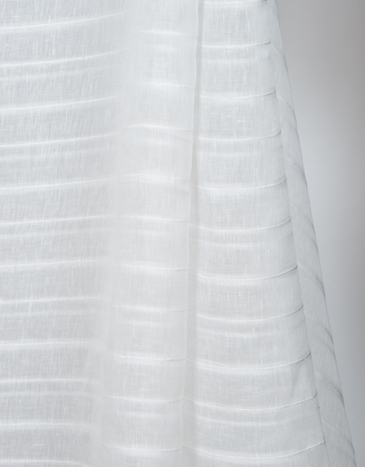 This light-weight sheer does really well as conventional curtains or roman shades. This fabric is double width, stripes come off the roll railroaded (horizontal). -