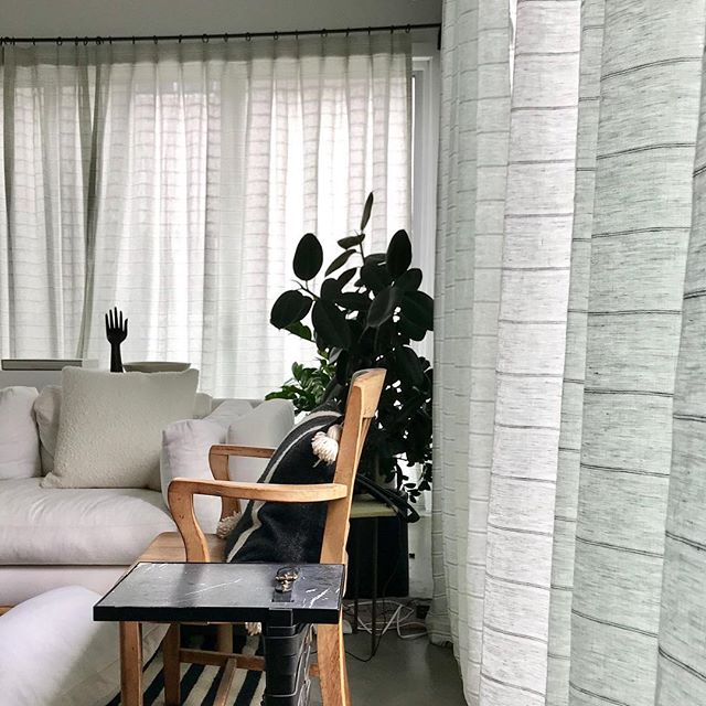 Shout-out to @thematfinish @bquattro , the re launch of @consorthome is in motion and looking good. Here is our Wilson Stripe Sage sheer in their LA apartment.  #theworldofinteriors #interiordesign #interiordecorating