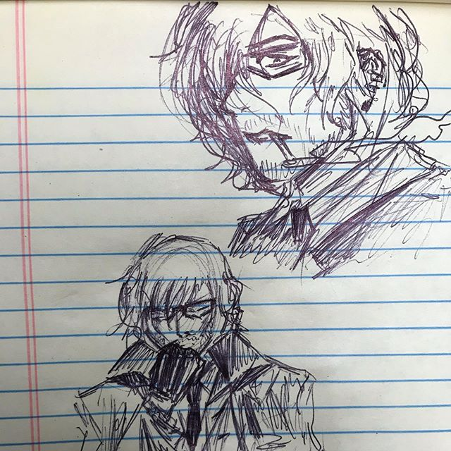 Conference call doodles at the day job. Visions of Cass with Glasses. Classes, if you will. Cass's Glasses.