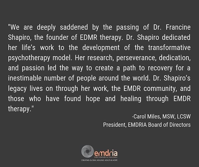 Sad news in the world of trauma recovery. RIP and Thank you for your groundbreaking contributions to mental health and psychology.