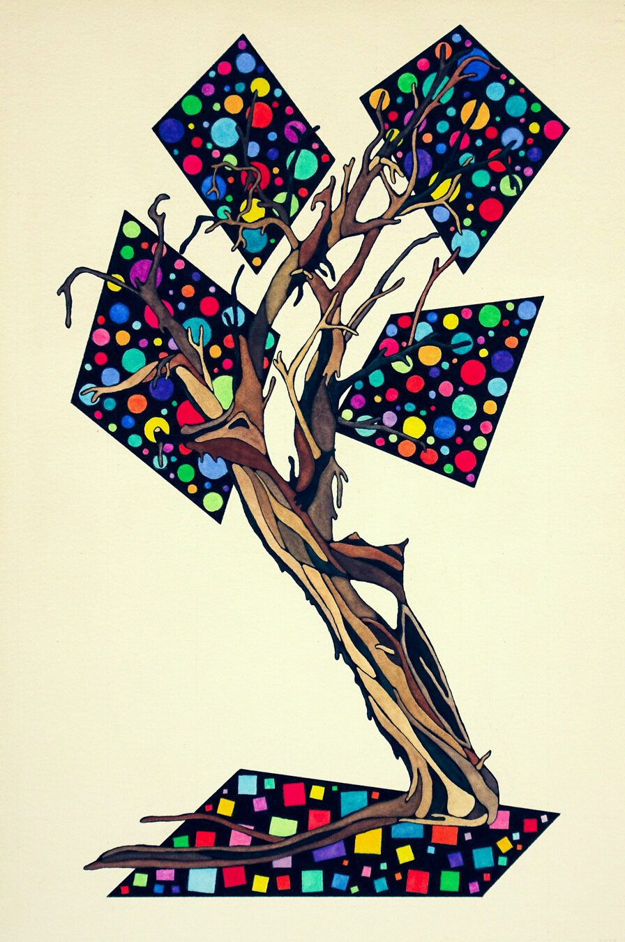 TREE OF GHOST RANCH, watercolor & ink on archival paper, 22 x 15 inches