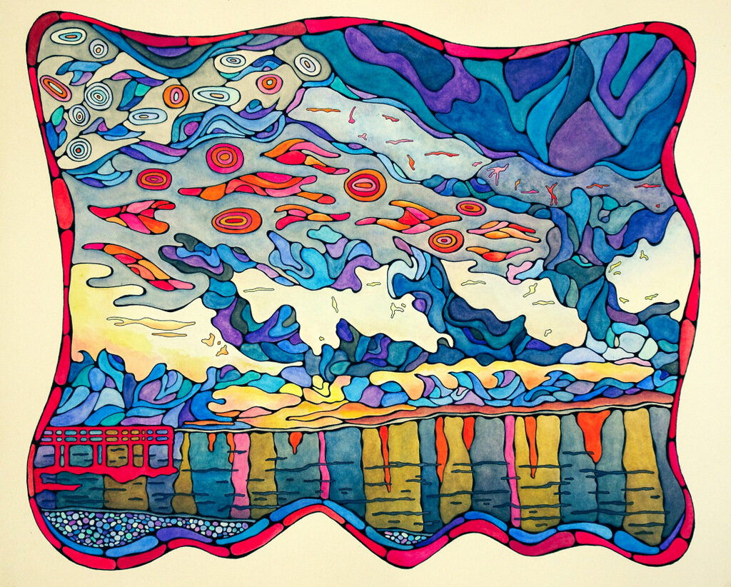 THE FLORIDA KEYS, watercolor & ink on archival paper, 19 x 23.5 inches