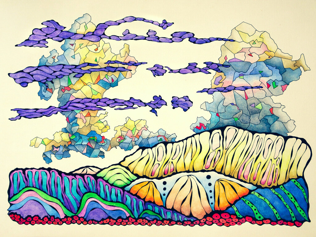 PURPLE CLOUDS, watercolor & ink on archival paper, 22 x 30 inches