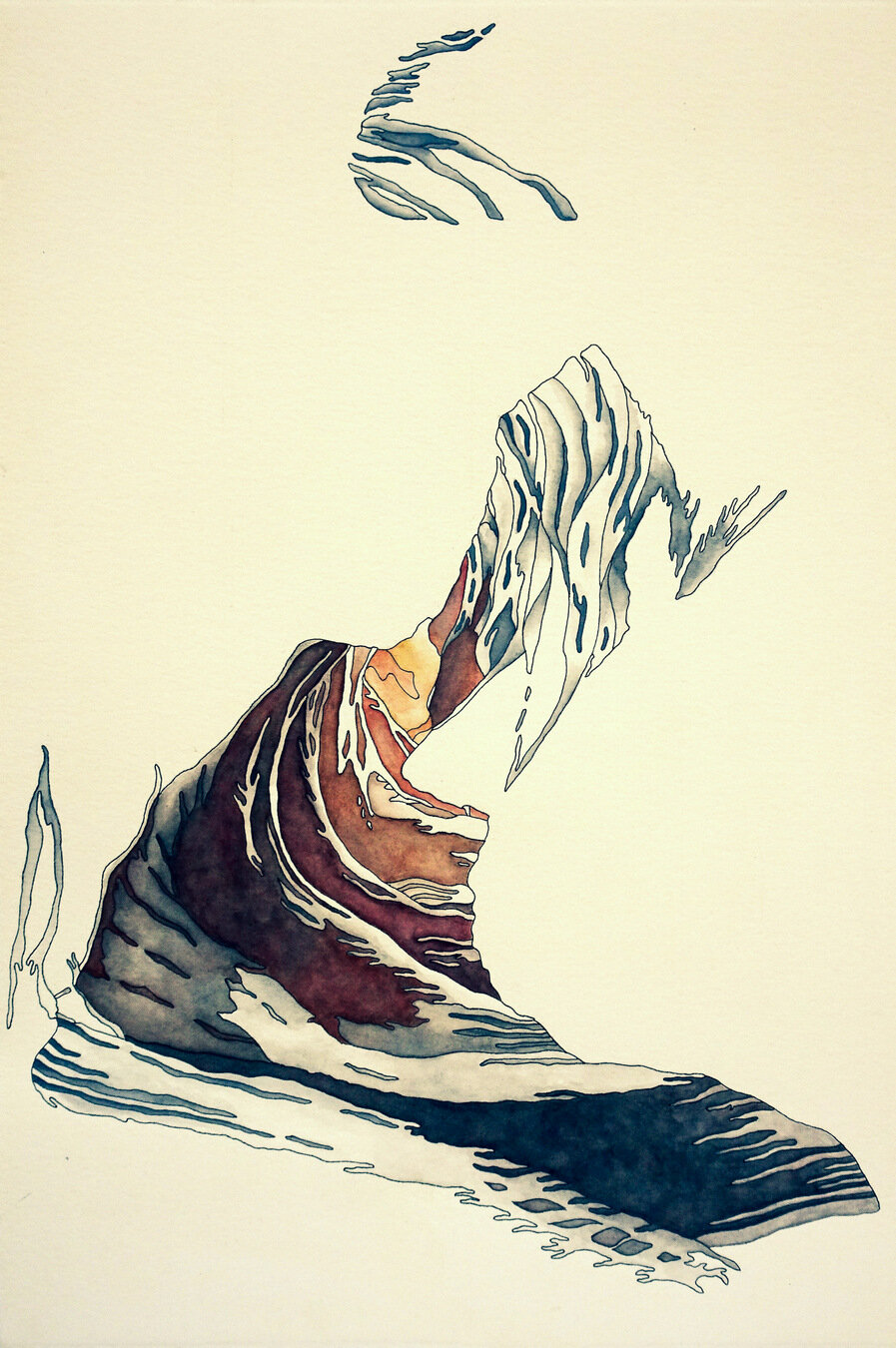 ANTELOPE CANYON ~ WINTER, watercolor & ink on archival paper, 22 x 15 inches
