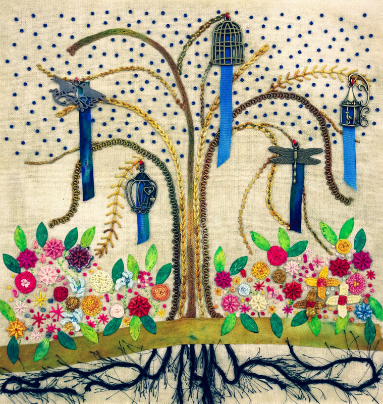 GARDEN OF EVE, cotton/mixed media art quilt, 10.5 x 10 inches