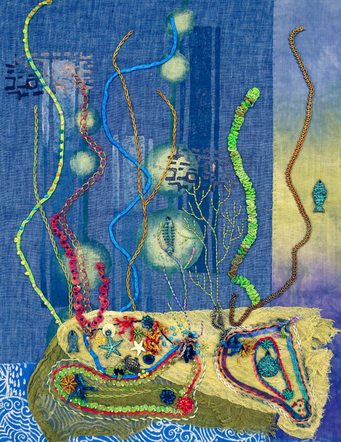 10.000 STITCHES UNDER THE SEA, cotton/mixed media art quilt, 17 x 13.5 inches