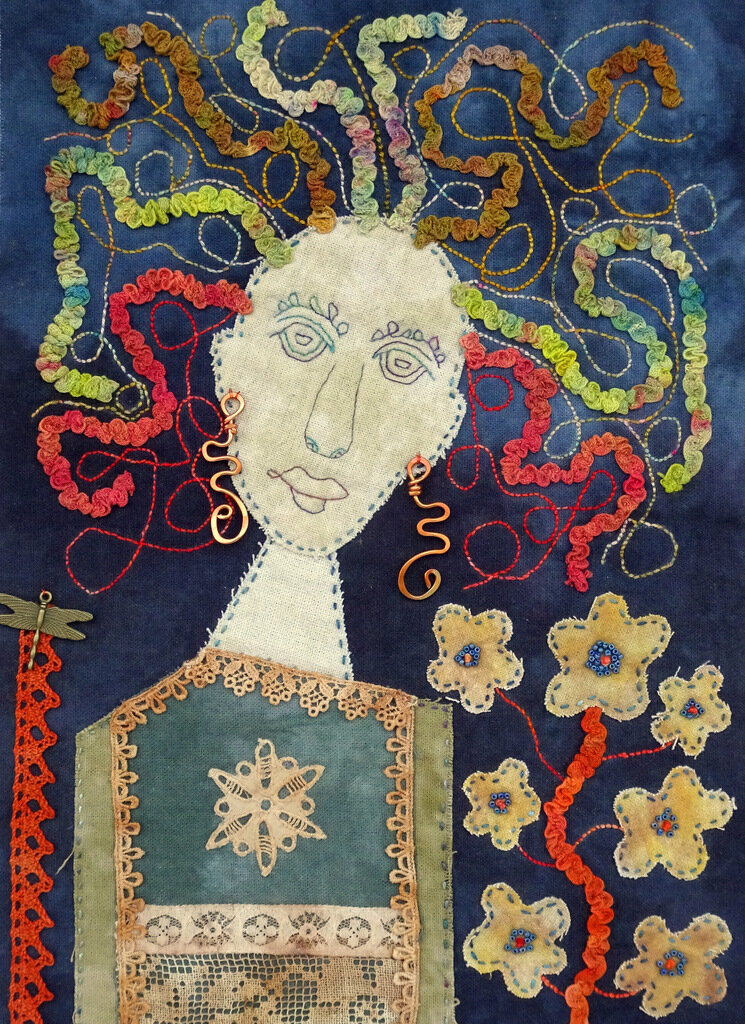 WILD WOMAN, cotton/mixed media art quilt, 14 x 10 inches