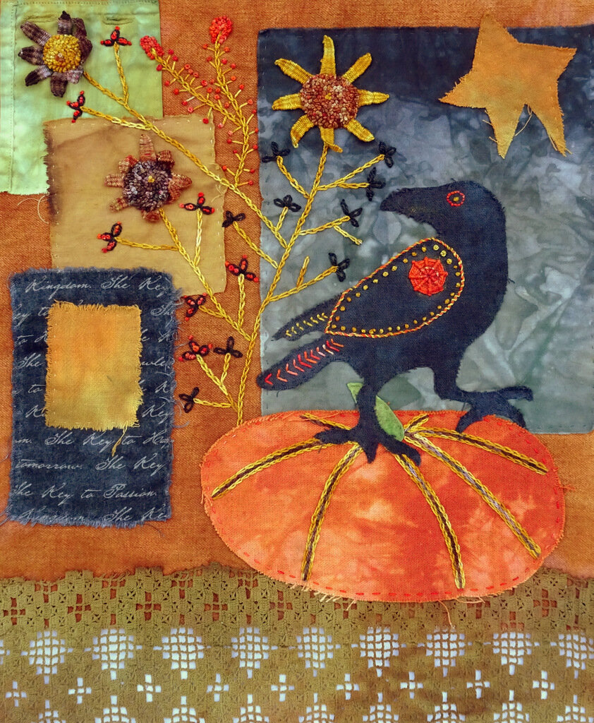 AS THE CROW WALKS, cotton/mixed media art quilt, 15 x 12.5 inches