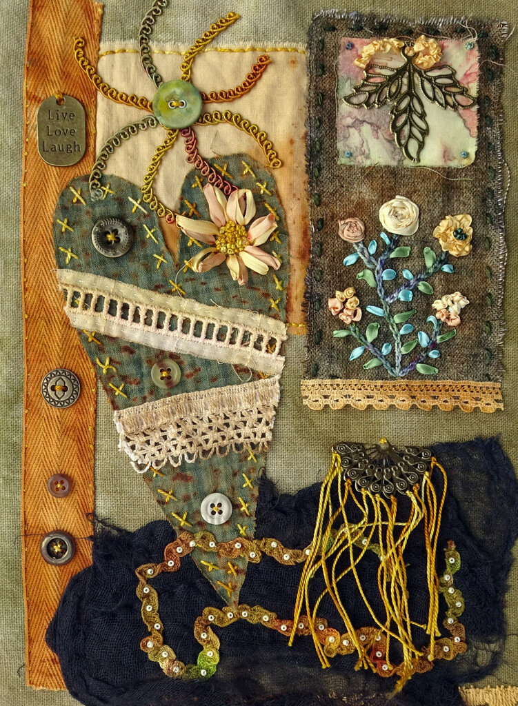 MY MENDED HEART, cotton/mixed media art quilt, 11 x 7.5 inches