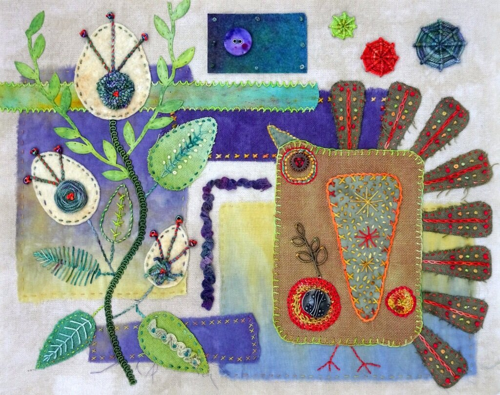ROCK~A~BIRDIE, cotton/mixed media art quilt, 12.75 x 10 inches