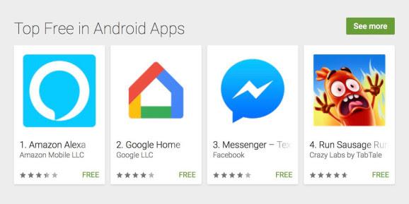 画像は、Venturebeat ' Amazon Alexa tops U.S. Android and iOS app stores, suggesting strong holiday Echo sales 'より