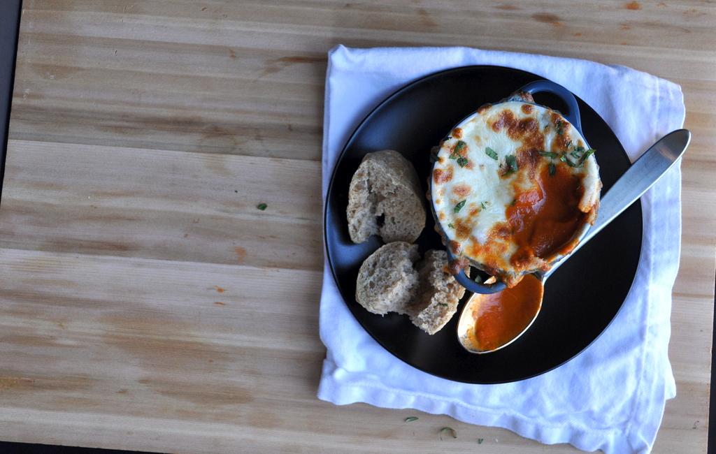 Bowl of French Onion Tomato Soup