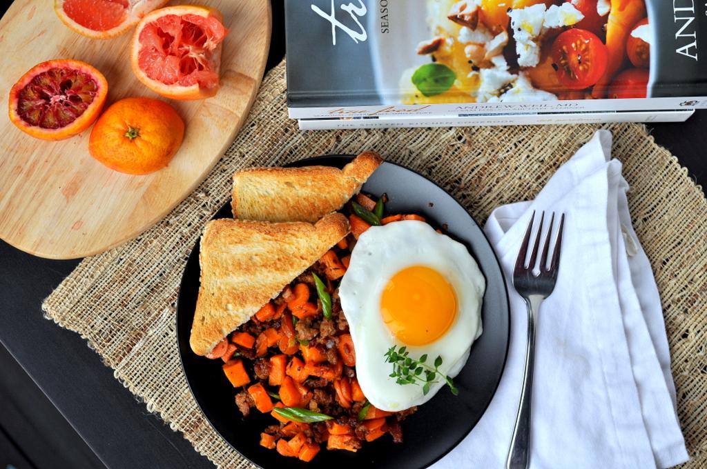 Sweet Potato Chorizo Breakfast Hash with a Citrus Splash