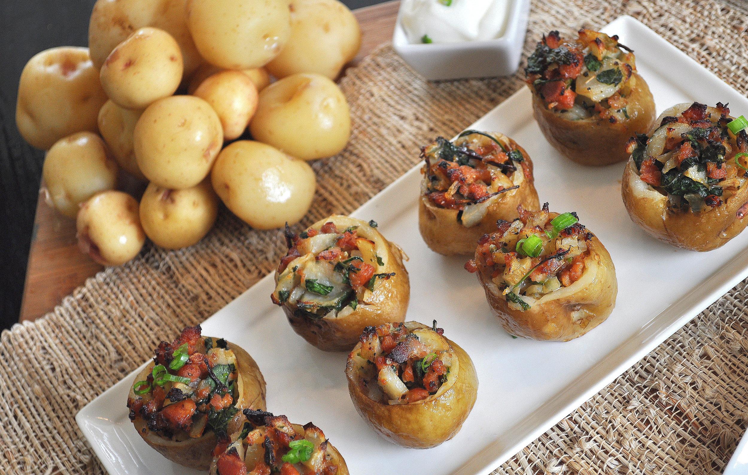 Chorizo and Kale Stuffed Potatoes