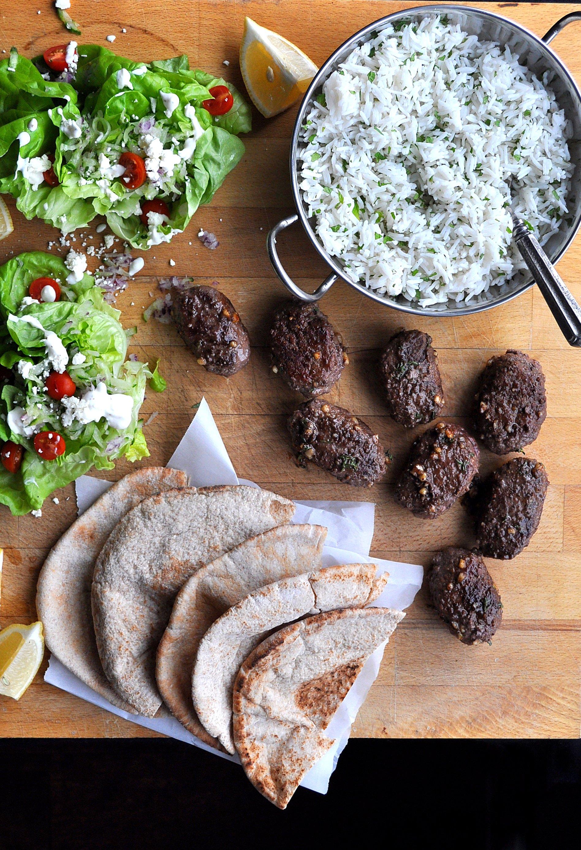 Beef Kofta with Rice & Greek Salad
