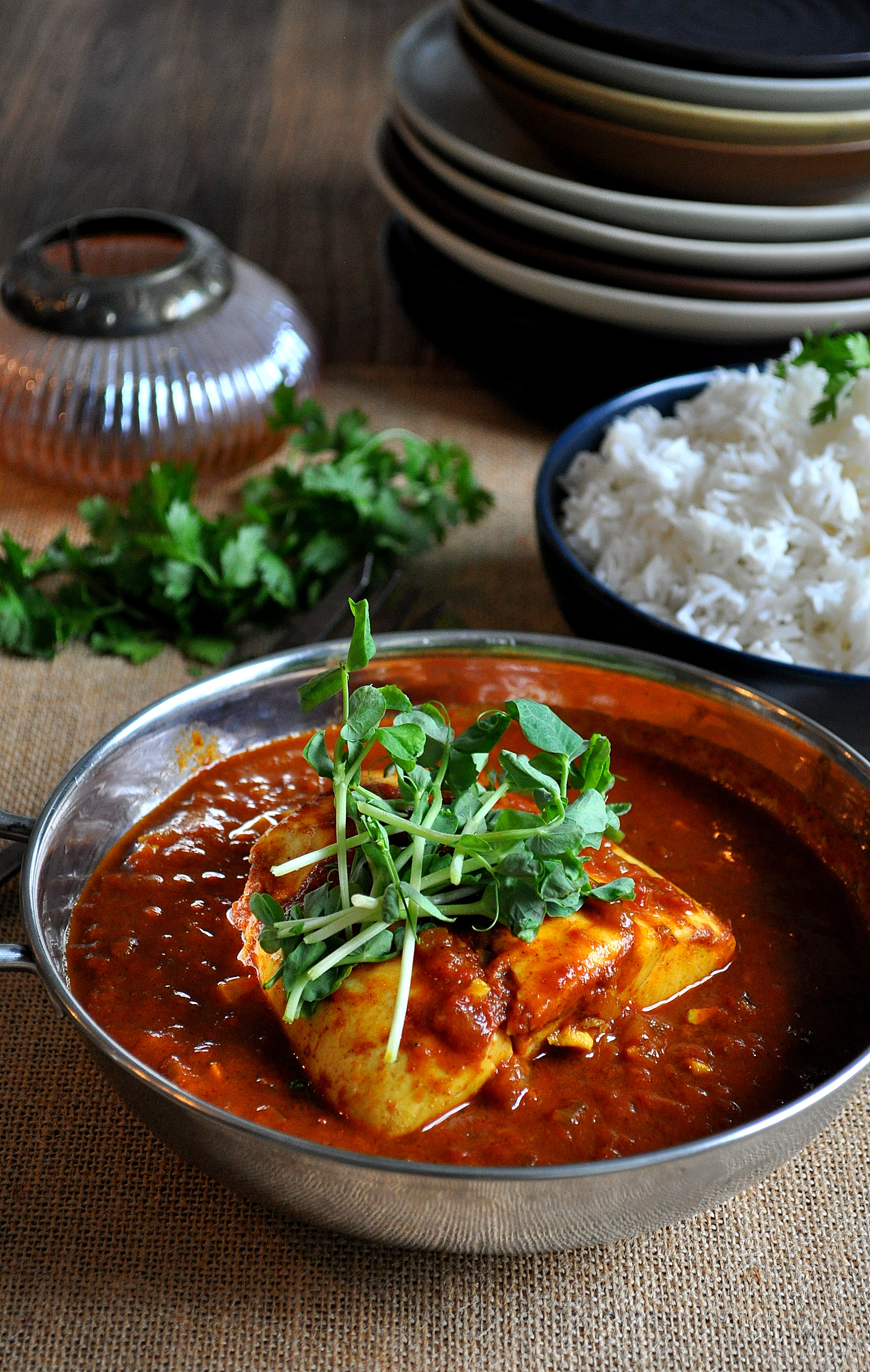 Poached Halibut in Thai Curry Broth