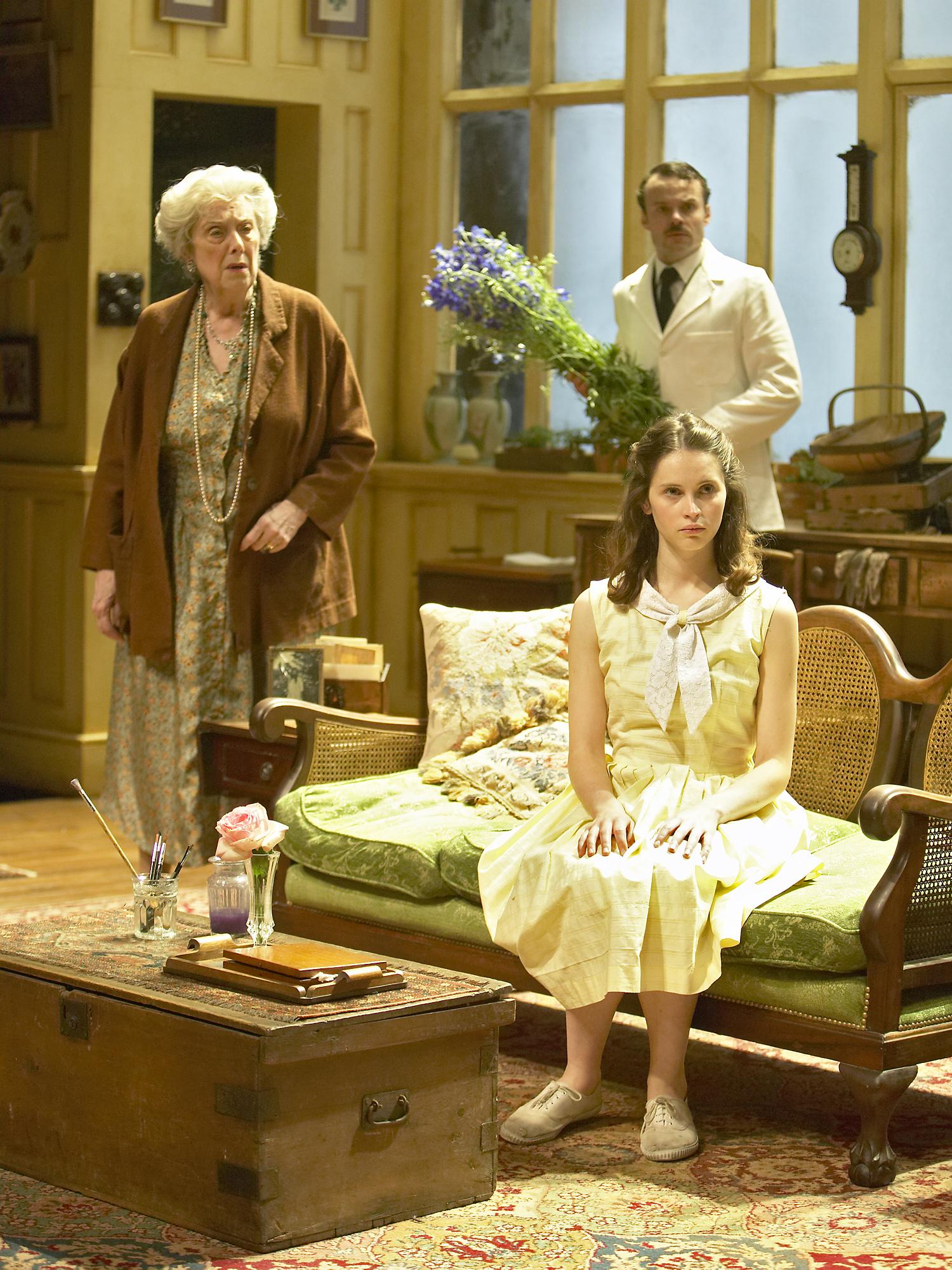 2. Margaret Tyzack (Mrs St Maugham), Jamie Glover (Maitland), Foreground - Felicity Jones (Laurel).by Manuel Harlan.jpg