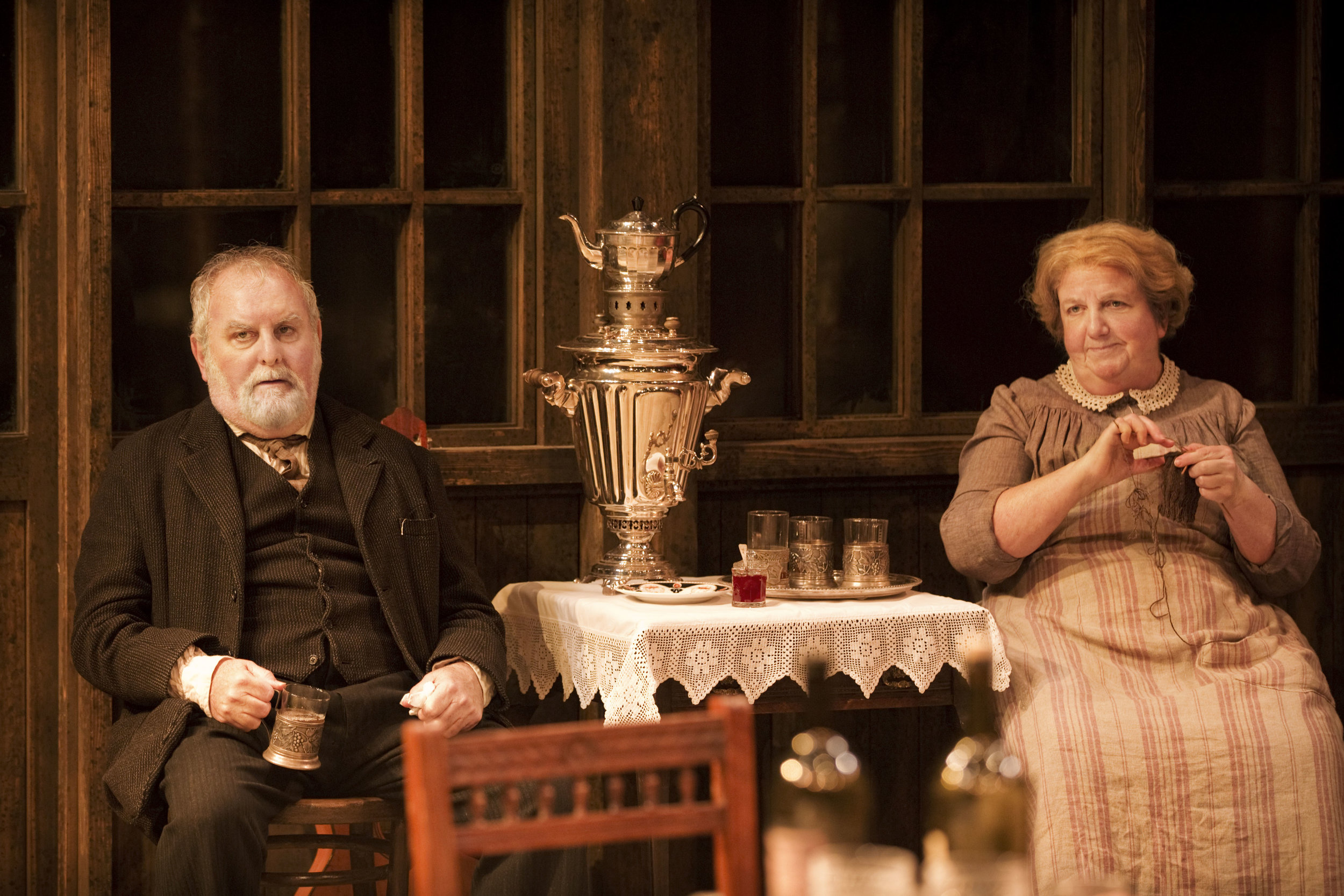3. CFTunclevan2012JP_01080 Anthony O'Donnell (Telegin) and Maggie McCarthy (Marina) in Uncle Vanya Photo by Johan Persson.jpg