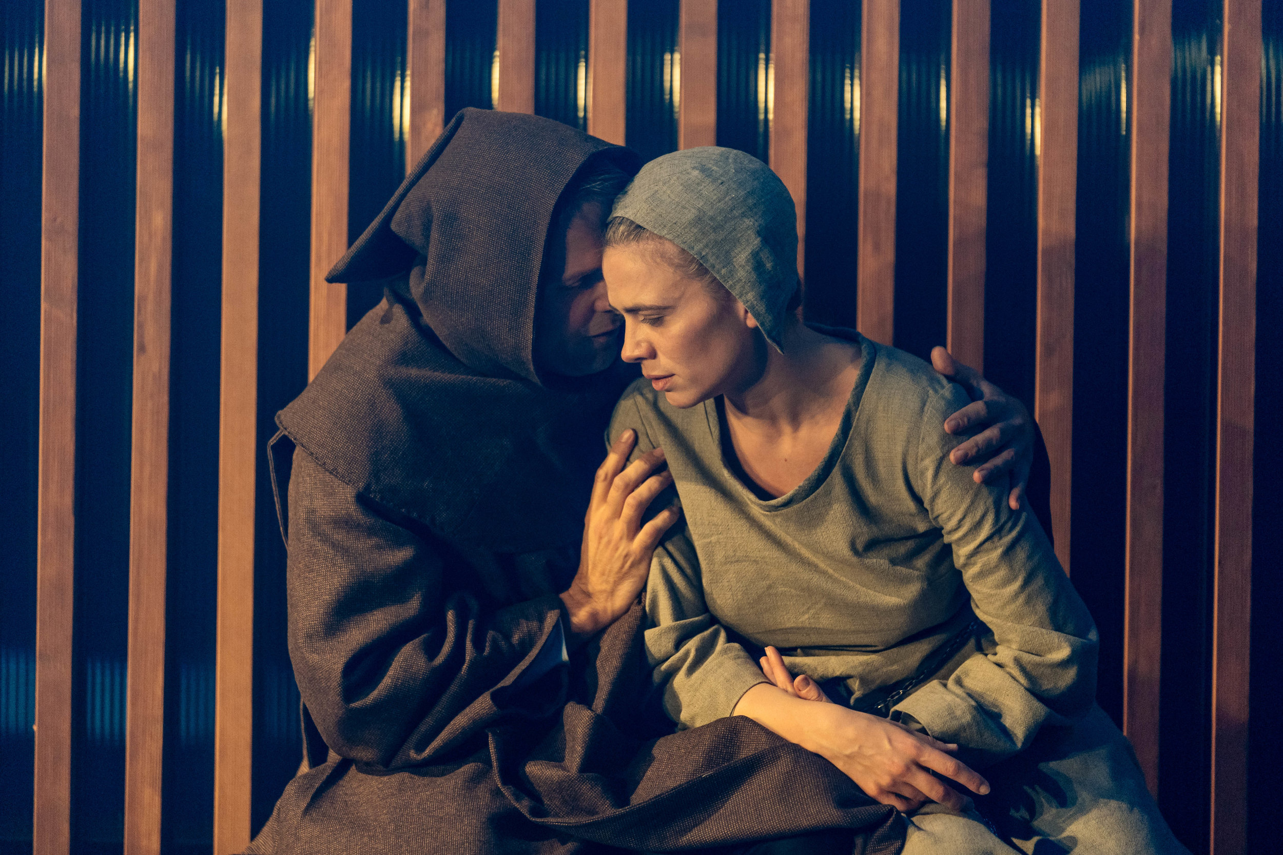 Nicholas Burns and Hayley Atwell in Measure for Measure at the Donmar Warehouse directed by Josie Rourke, designed by Peter McKintosh. Photo Ma-130.jpg