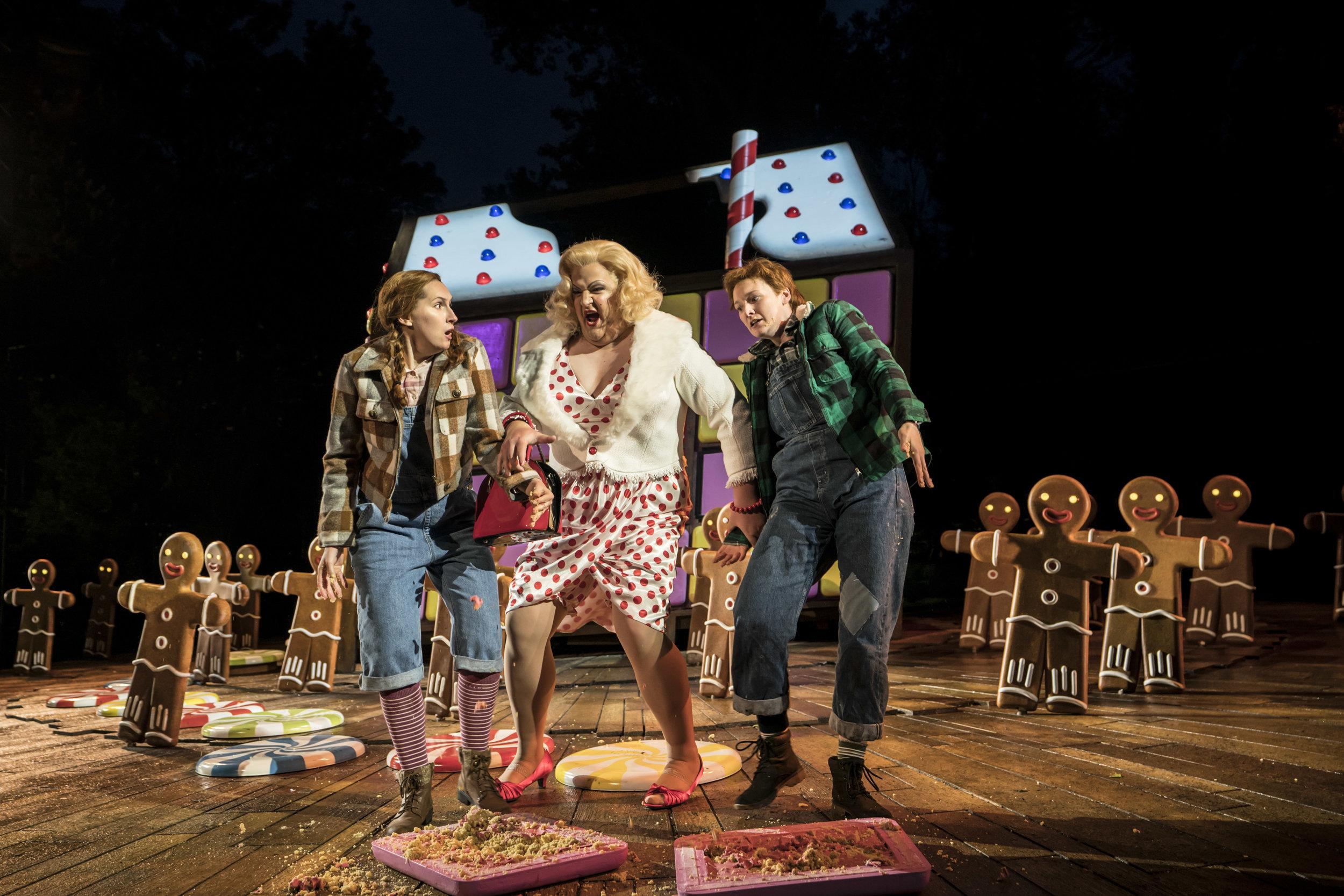 Elizabeth Karani, John Findon and Heather Lowe as Gretel, Witch and Hansel. Photo Johan Persson..jpg