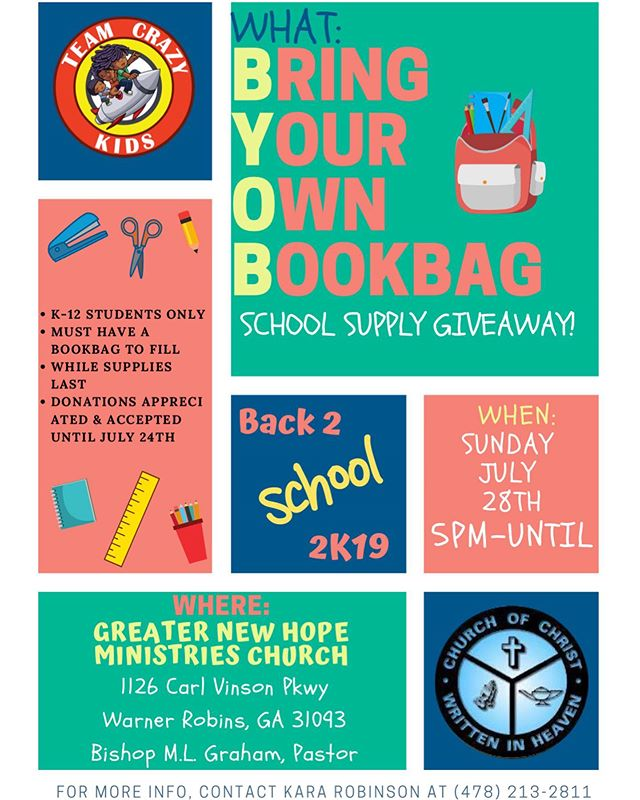 Bring Your Own Bookbag 📚🚀🎒🚀📚🚀🎒🚀📚🚀 SCHOOL SUPPLIES GIVEAWAY 🚀📚🚀🎒🚀📚🚀🎒🚀📚 Hosted By: @teamcrazykidsllc Flyer Created By: @writerlykara37 July 28th | 5pm | While Supplies Last • • • • • • #backtoschool2019 #TeamCrazyKids #BYOB #schoolsuppliesgiveaway #greaternewhope #july28th #warnerrobins