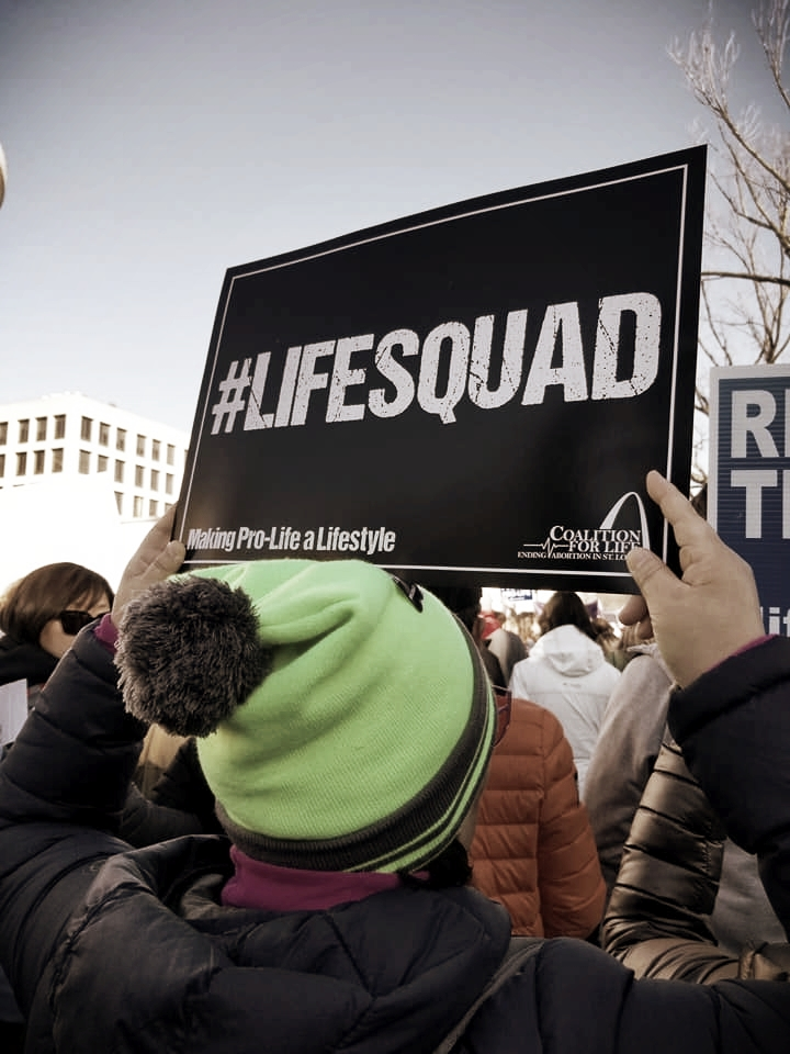 """Attendee of the march for life 2018 in Washington, Dc. This year's theme was """"love saves lives."""""""