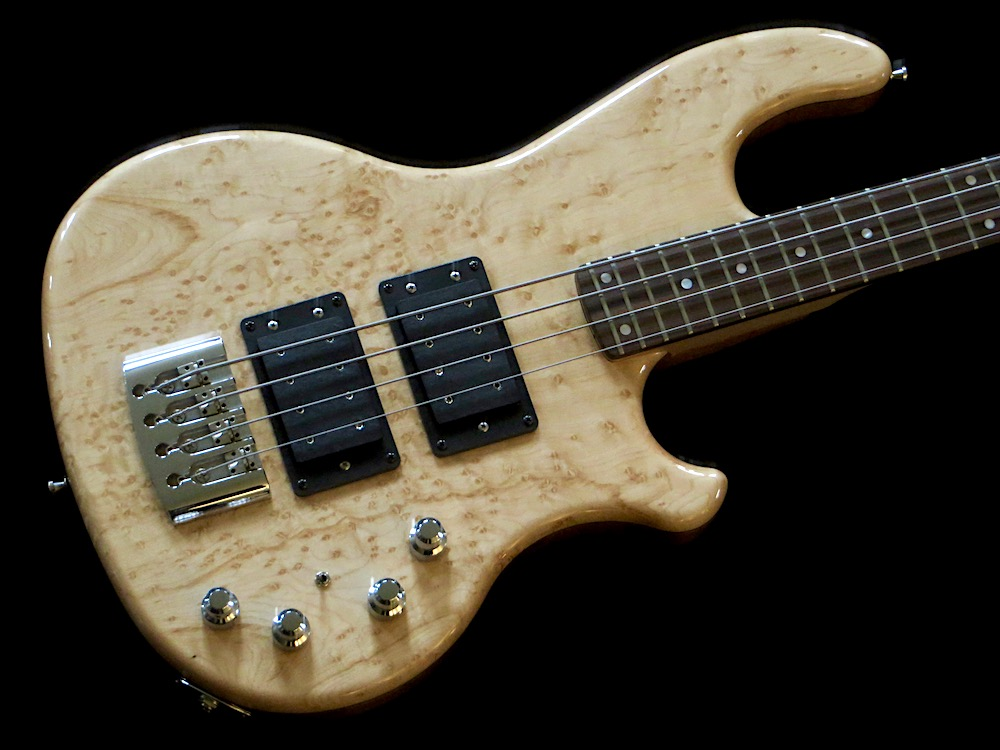 INLAW 424 CUSTOM FERRARI - Watch out, here comes the Hot Wire Inlaw 424 (i.e., 4 string 24 frets) Ferrari with high gloss finish, bird's eye maple top and multi-strip neck.