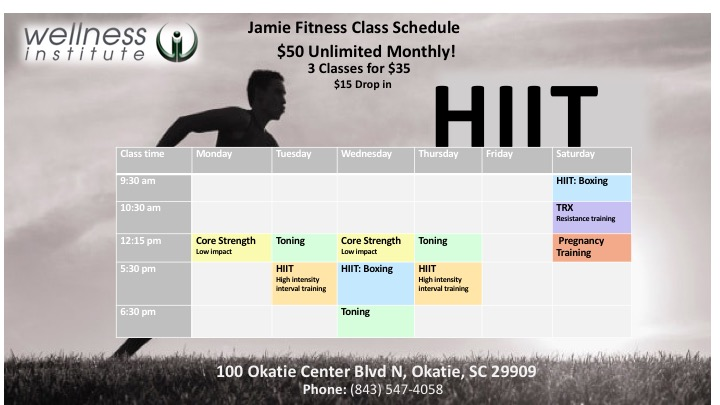 jamie fitness classes March 2018