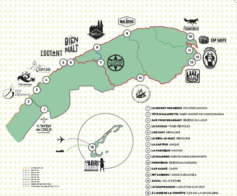 La carte de la Route des bières de l'Est du Québec