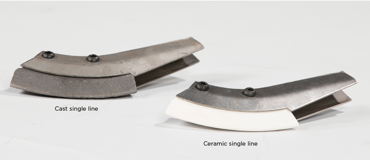 Ceramic Single Line and Cast Single Line - Ceramic Single LineExtra hard wearing for sticky or abrasive soilsCast Single LineGeneral purpose single line work