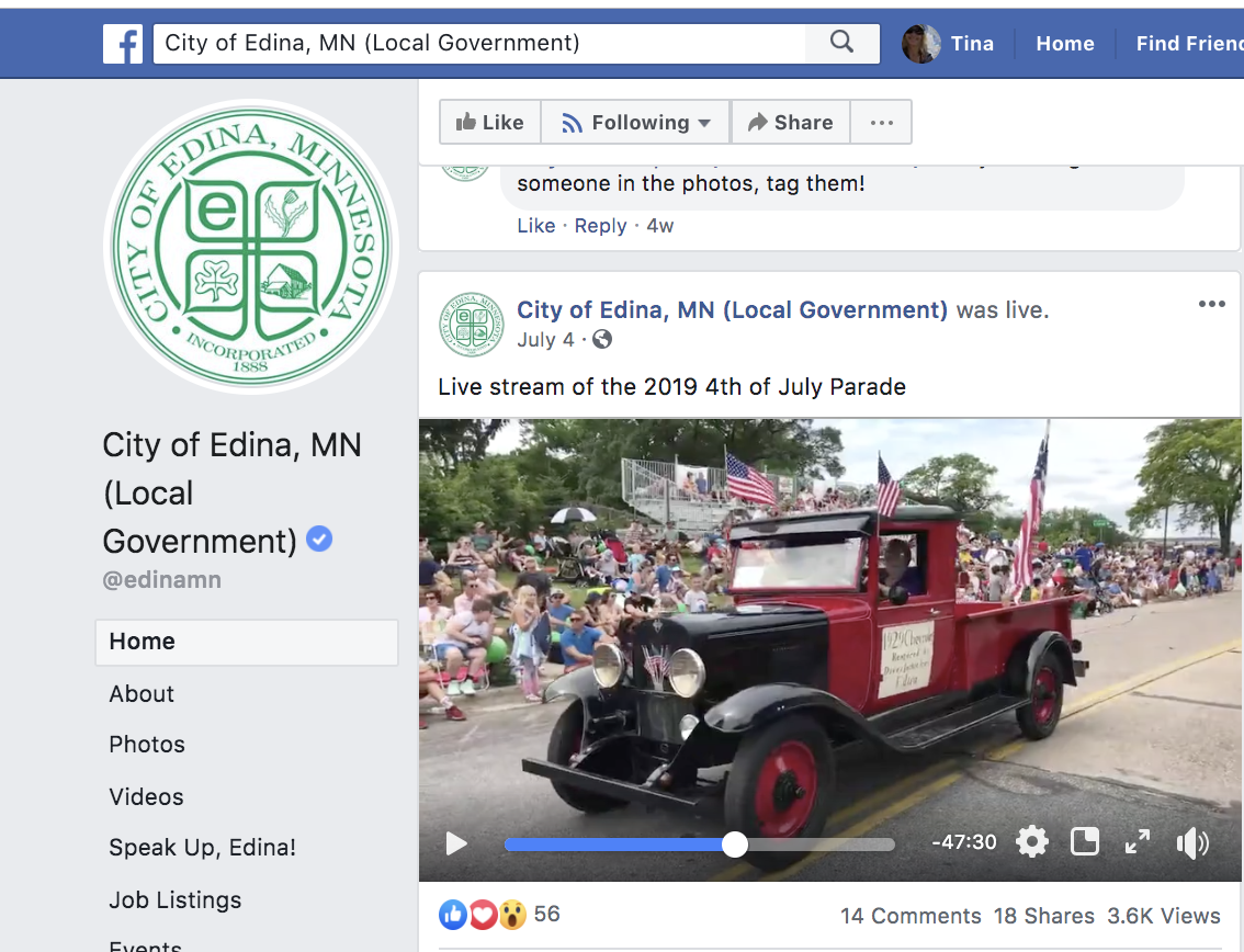 Fourth of July Video   City of Edina Facebook , July 4, 2019