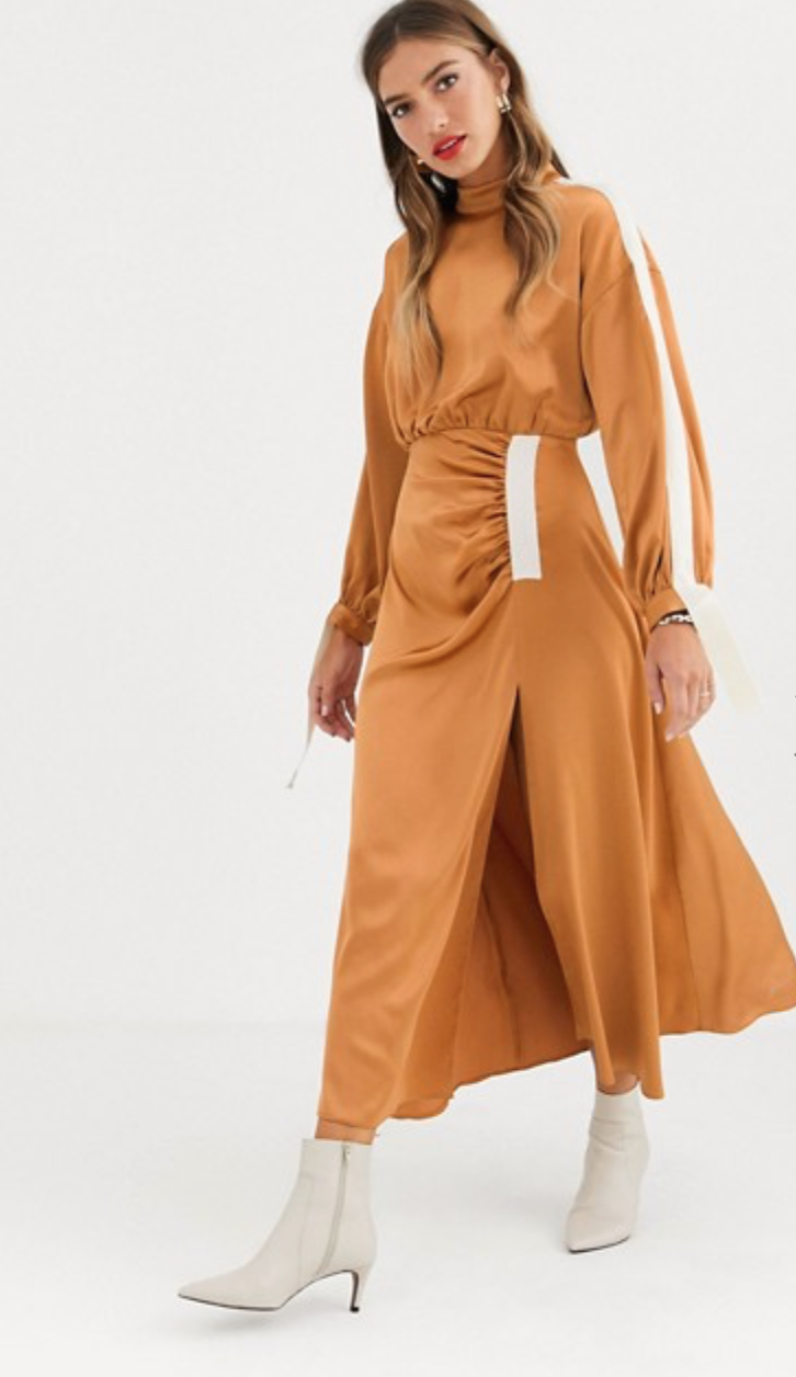 SATIN MIDI - Summer was for the midi skirts and autumn is for the midi dresses. Satin is here to stay so you might as well cover your whole body in it.This rust number is numero uno on my list but if you're feeling frugal - always - instead pair your sleeveless summer version with a long sleeve.